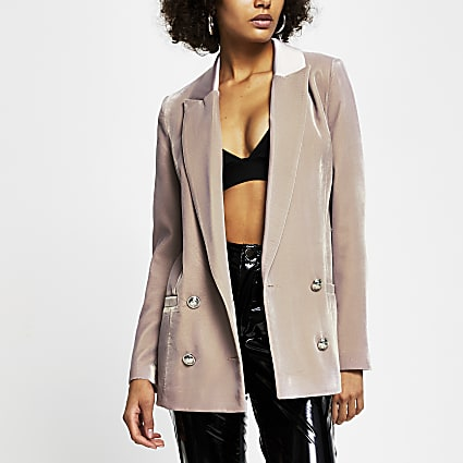 Pink velvet double breasted blazer
