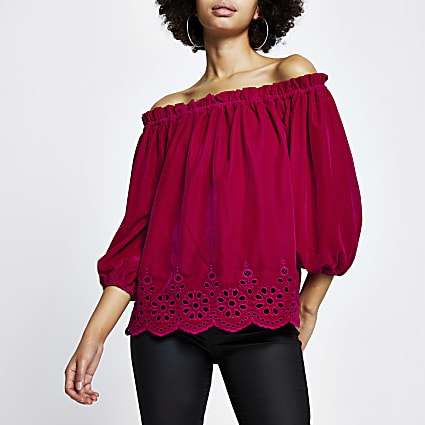 Pink velvet long sleeve bardot top