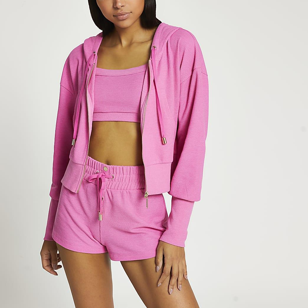 Pink waffle long sleeve hoodie
