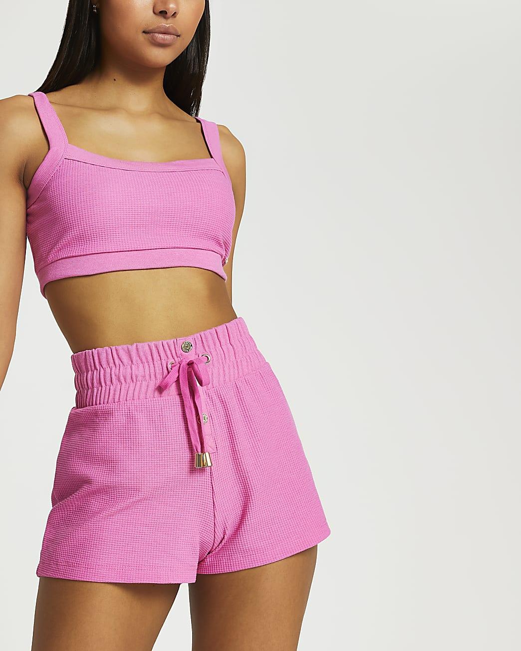 Pink waffle runner shorts