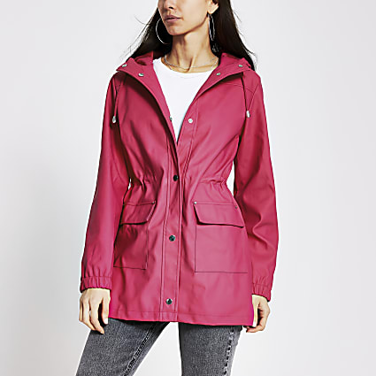 Pink waisted rainmac jacket