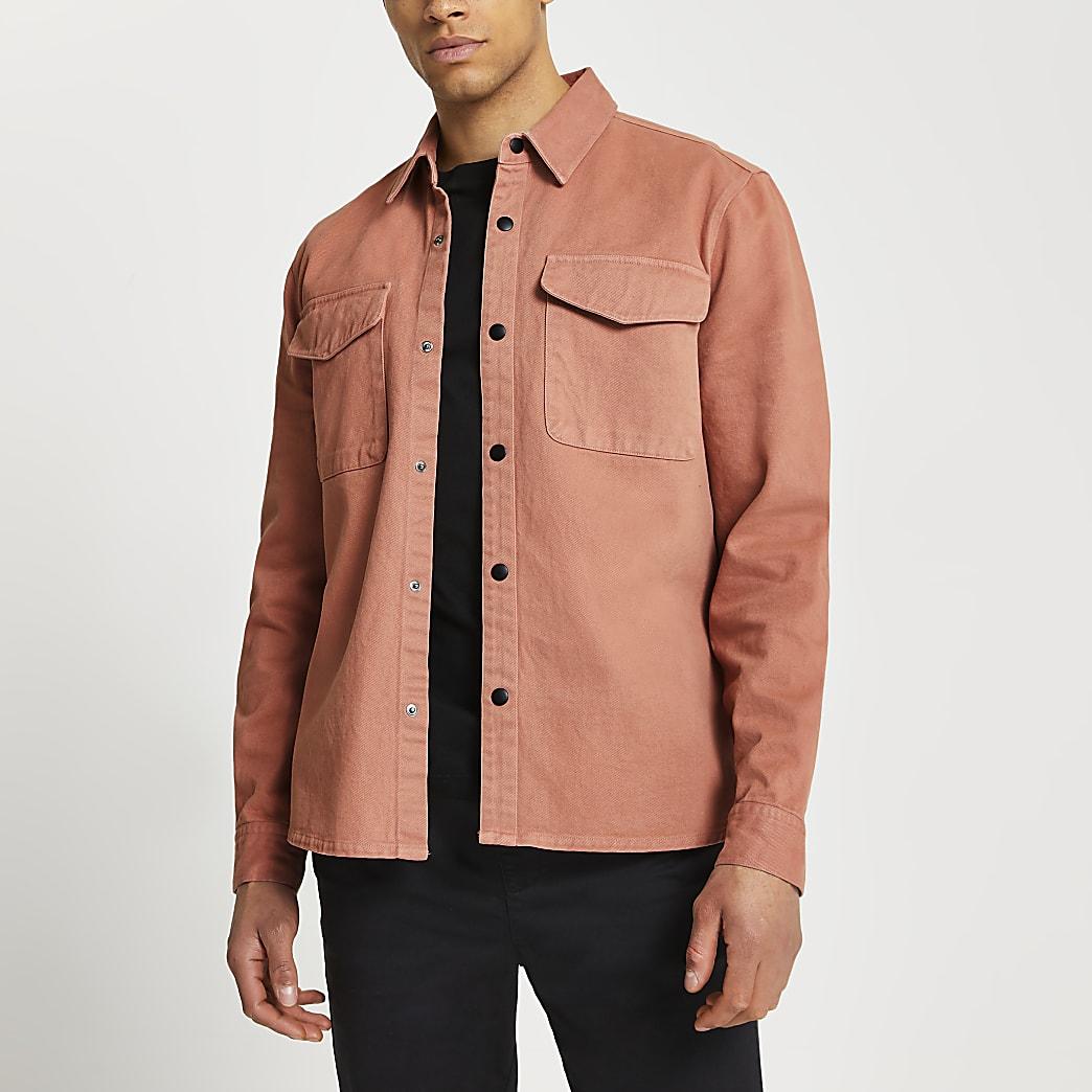 Pink washed long sleeve shirt
