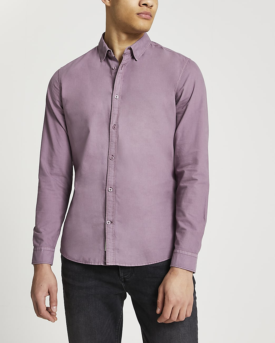 Pink washed slim fit Oxford shirt
