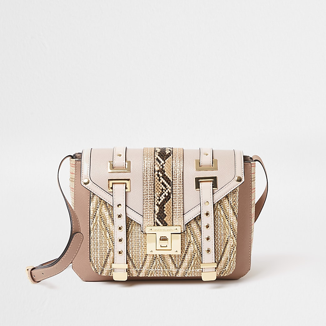 Pink weave mix cross body handbag