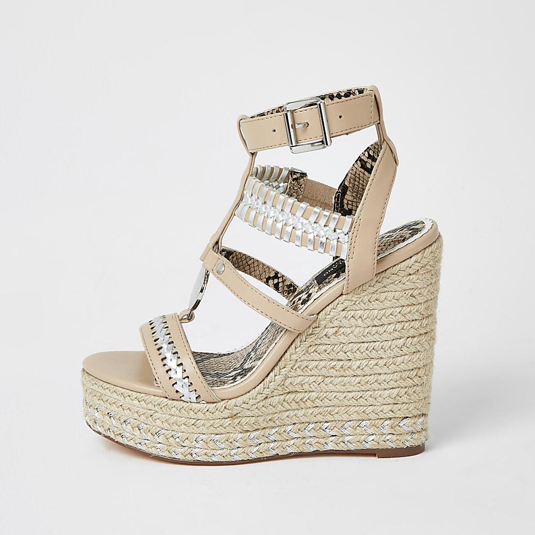 Pink whipstitch strap wide fit wedge sandals