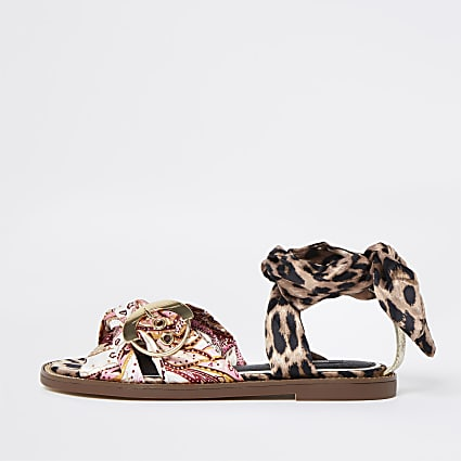 Pink wide fit animal print sandals