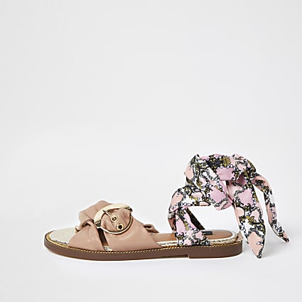 Pink wide fit ankle tie sandal