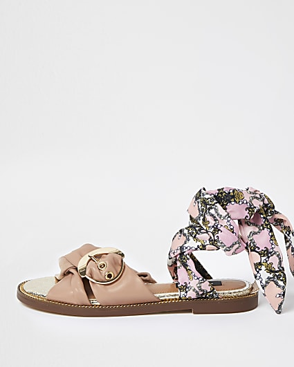 Pink wide fit ankle tie sandals