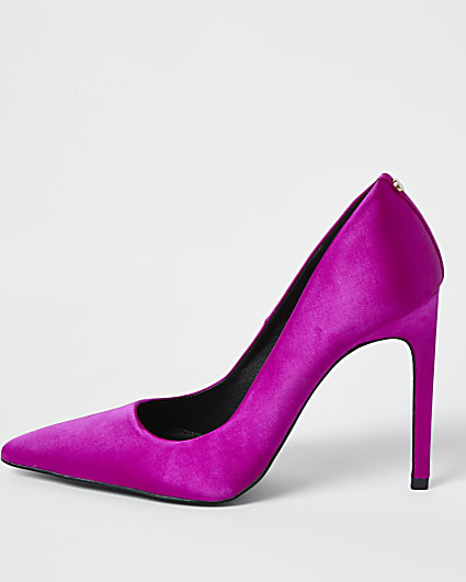 Pink wide fit high heeled court shoes