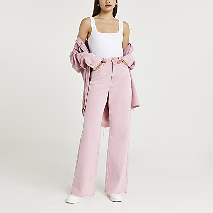 Pink wide leg high waisted jeans