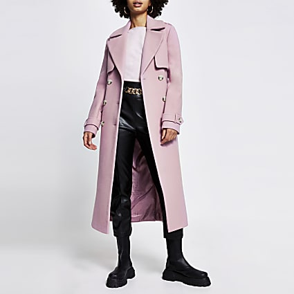 Pink wool longline trench coat