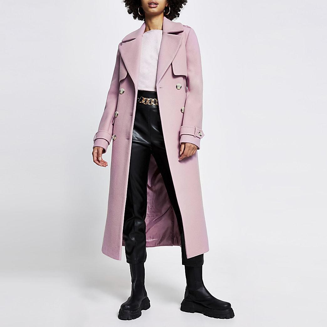 Pink wool longline trench coat
