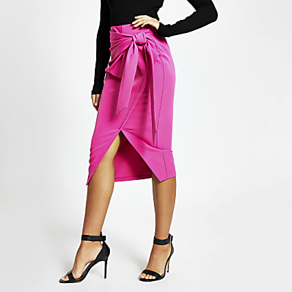 Pink wrap front midi pencil skirt