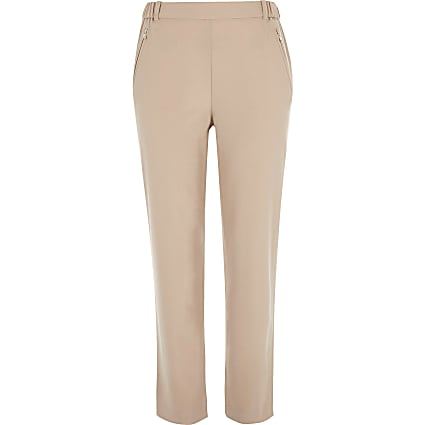 Pink zip detail trousers