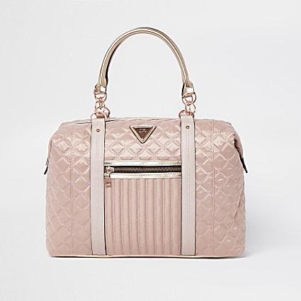Pink zip front quilted weekend bag