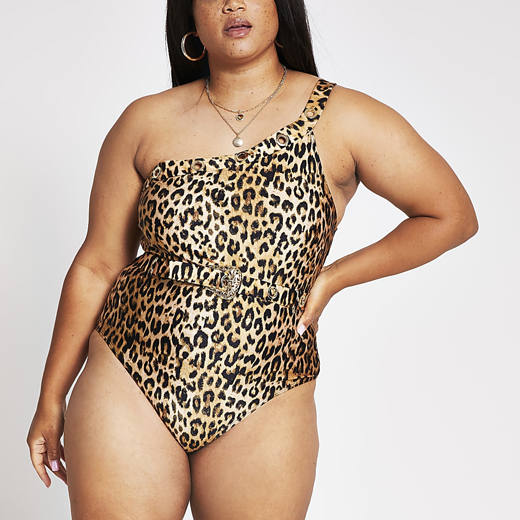 Plus animal print one shoulder swimsuit
