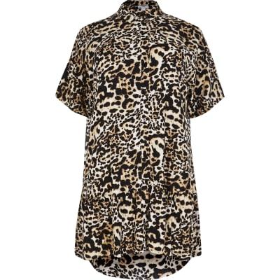 Plus Size Animal Shirt Dress