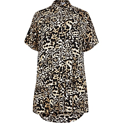 Plus animal print shirt smock mini dress