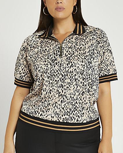 Plus beige animal print half zip polo shirt