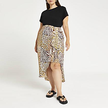 Plus beige animal print knot front maxi skirt