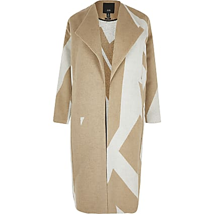 Plus beige Aztec print coatigan
