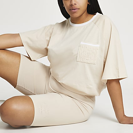 Plus beige boxy tennis t-shirt