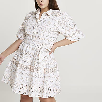 Plus beige broderie puff sleeve shirt dress