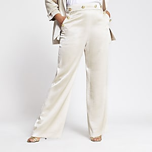 Plus beige button front wide leg trousers