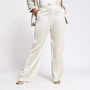 Plus – Beige Hose mit weitem Beinschnitt und Frontknöpfen