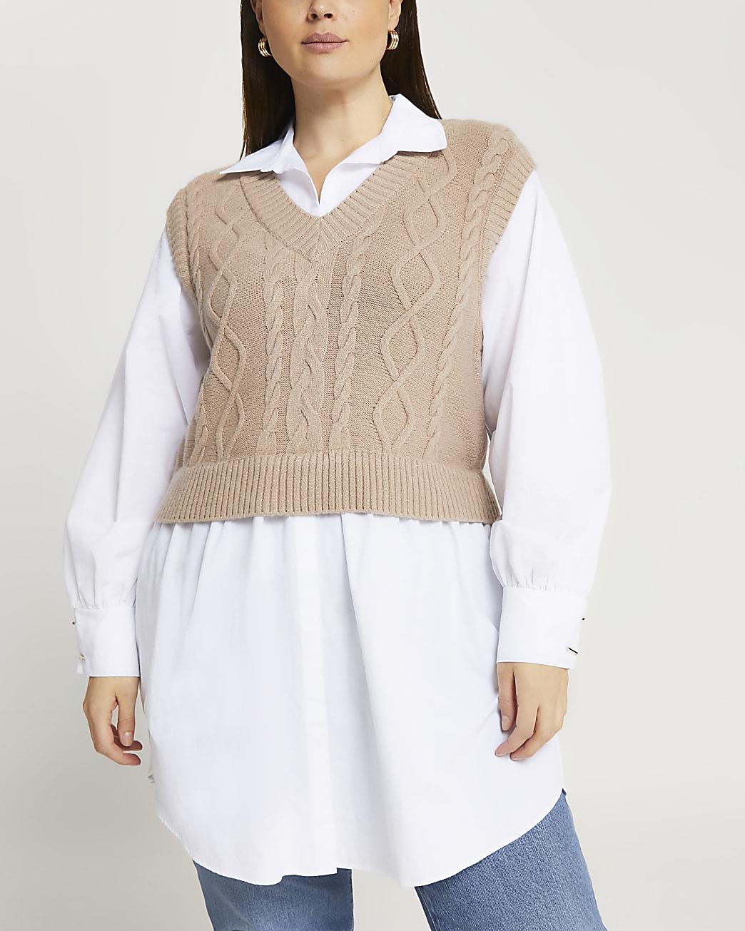 Plus beige cable knit tank dress