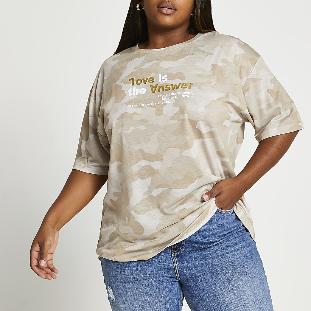 Plus beige camo oversized t-shirt