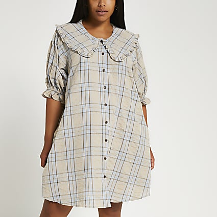 Plus beige check print collar mini dress