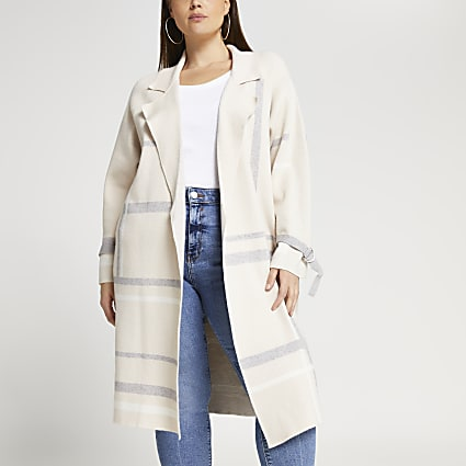 Plus beige check print duster jacket