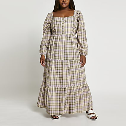 Plus beige check print maxi dress
