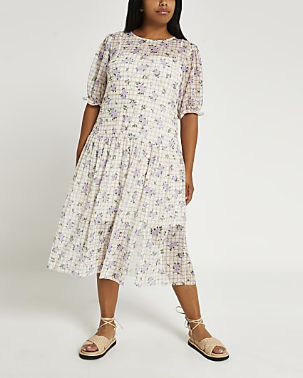Plus beige check print midi dress