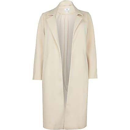 Plus beige chuck on wool coat