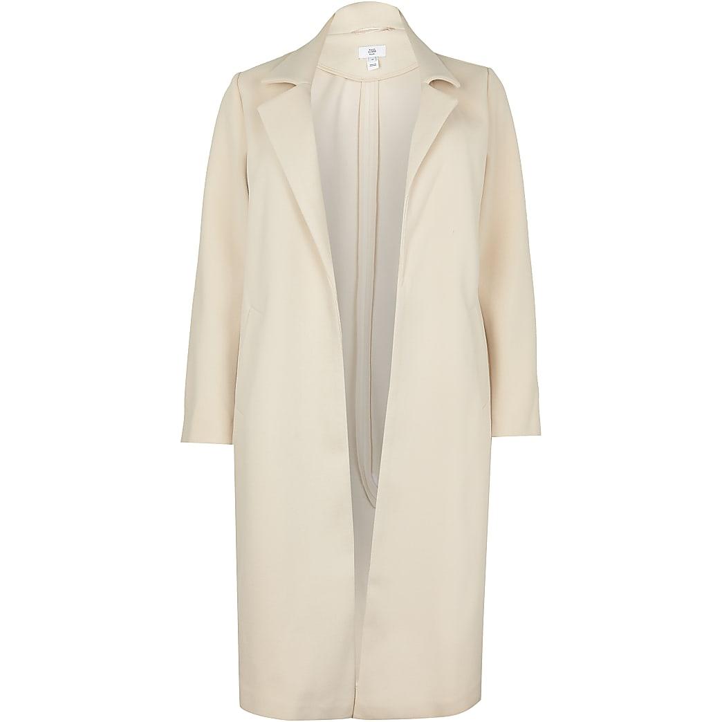 Plus beige chuck on wool coat
