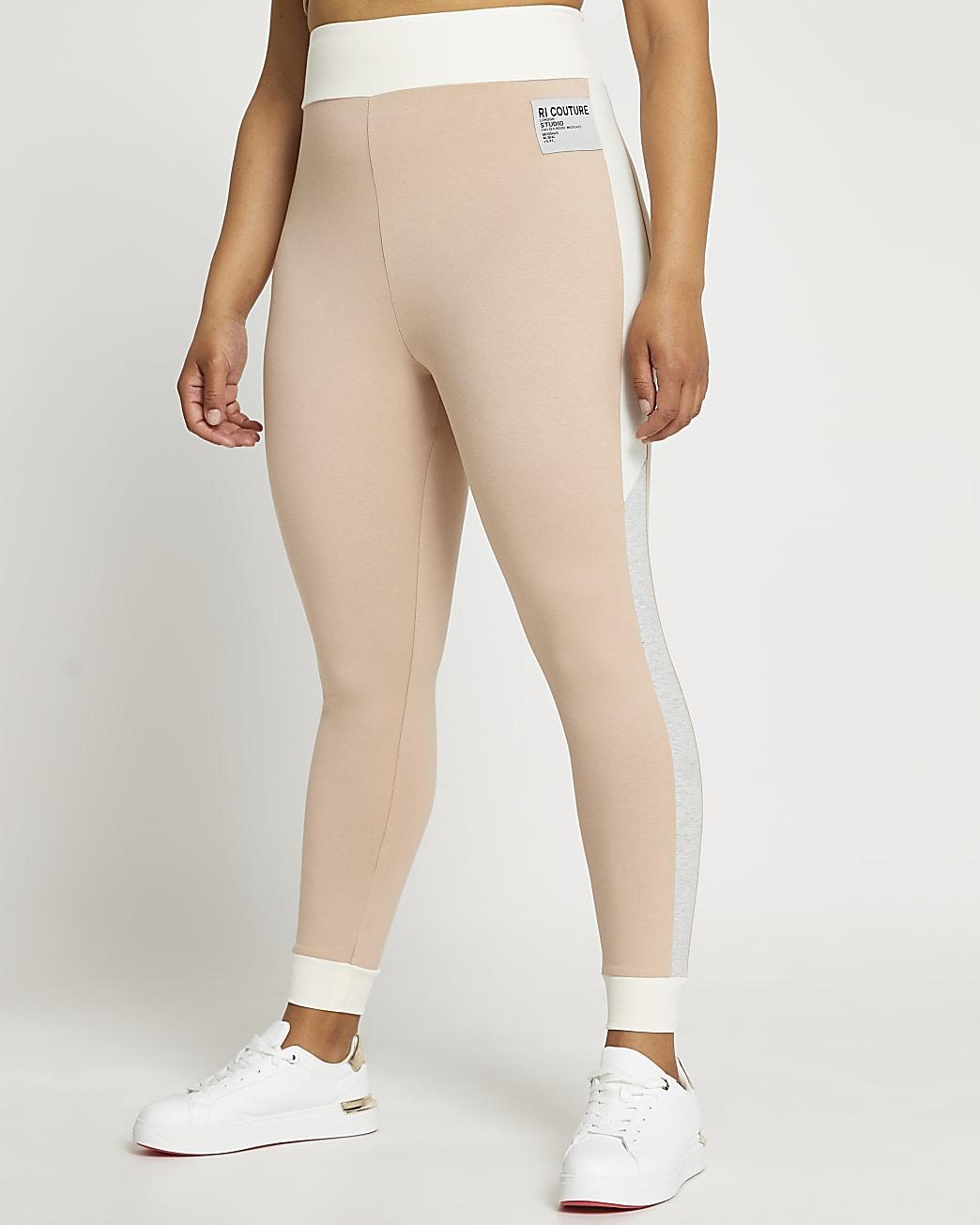 Plus beige colour block leggings
