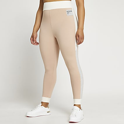 Plus beige colour block leggings