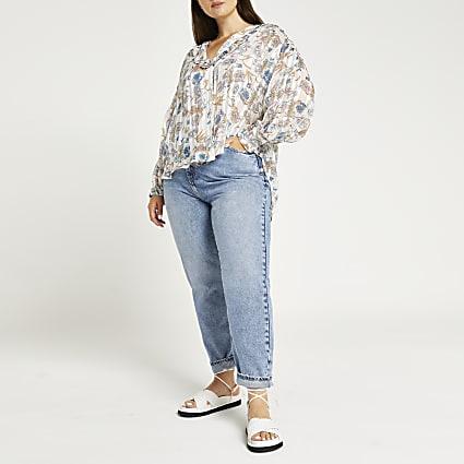 Plus beige floral frill detail shirt