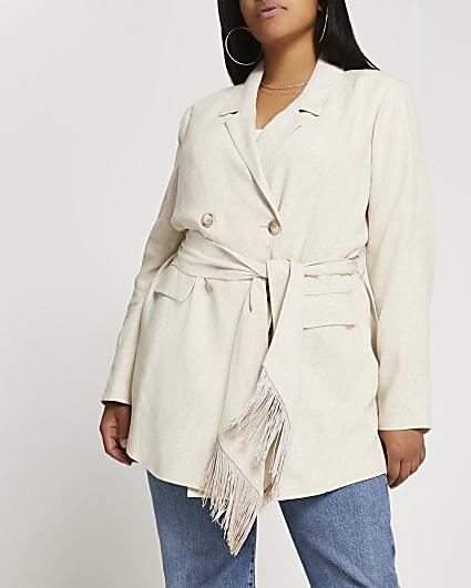 Plus beige fringe belted blazer