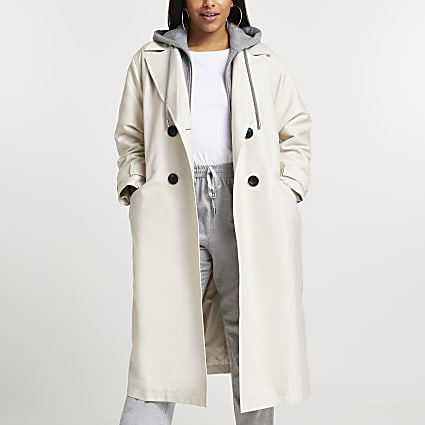 Plus beige hooded trench coat