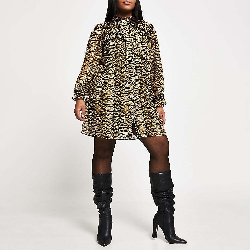 Plus beige leopard print frill mini dress