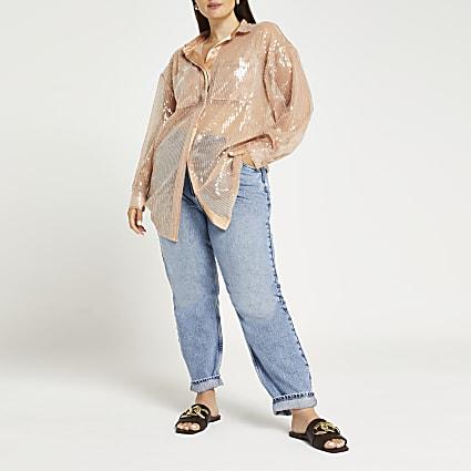 Plus beige oversized fit sequin shirt