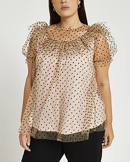 Plus beige polka dot print blouse