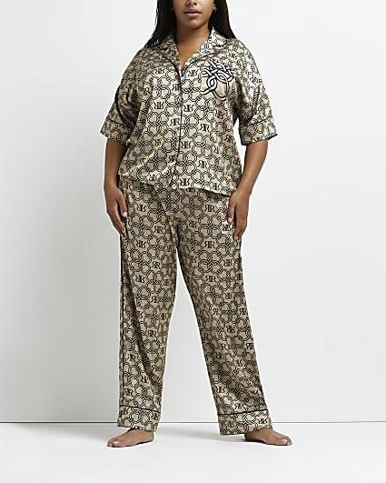Plus beige RI monogram print pyjama trousers