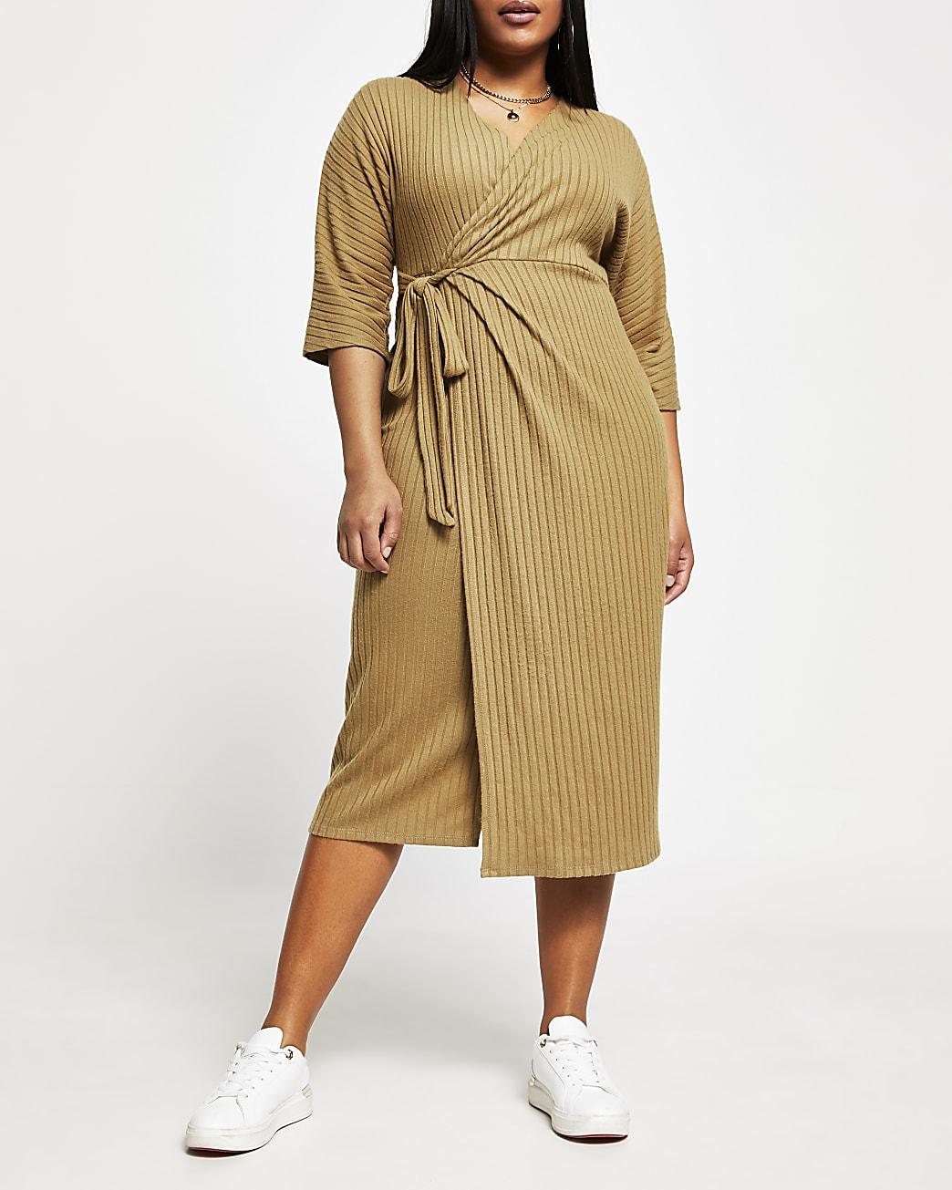 Plus beige ribbed wrap midi dress