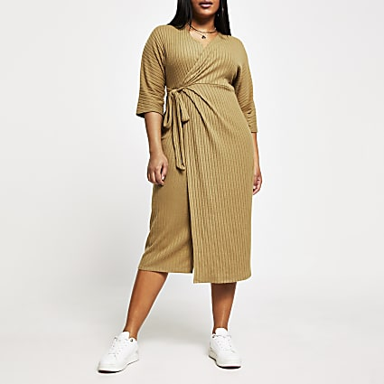 Plus beige ribbed wrap midi dress