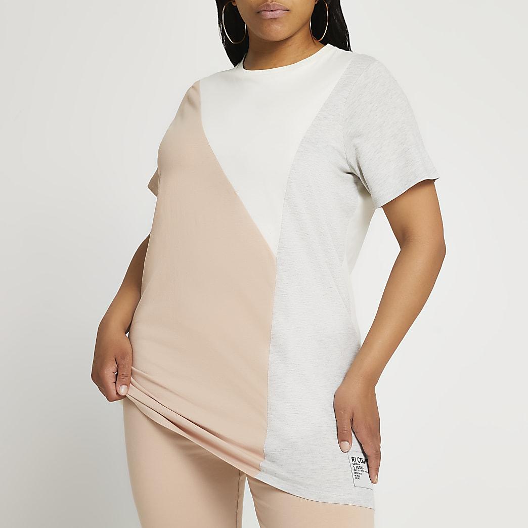 Plus beige short sleeve colour block t-shirt