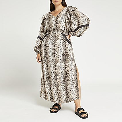 Plus beige snake print maxi dress